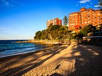 World famous Manly Beach, only a block away