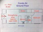 Floor plan (not to scale) of ground floor