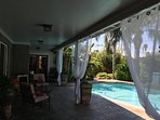 Large covered patio & pool