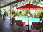 Large covered patio and pool