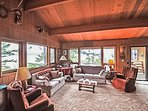 The main living room area is cozy and has ample seating for all 6 in your party.