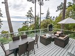 The deck offers plenty of seating to enjoy the picturesque views.