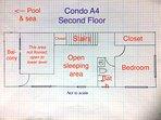 Floor plan (not to scale) of second floor