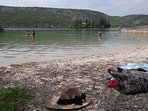 Beach on Visovac lake Krka. 4 km from apartment, free to swim