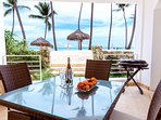 Your private beach front terrace with outside dinning area, bbq and ocean view