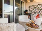 Outdoor area equipped with BBQ snd seating area