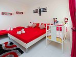 Spare Bedroom with King Bed, Folded Bed and baby Bed
