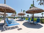 Take shade between the oceanfront pools