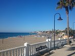 Local La Cala beach, Chiringuitos, sunbeds and watersports