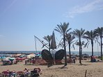 Local Cabopino beach, Chiringuitos, sunbeds and watersports