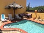 Close-up of the lounge area at Villa Tibushi Aruba