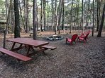 Picnic tables and lawn furniture so everyone can enjoy the hot dogs & smore's on the fire-pit.