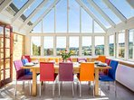 Stunning glass roofed dining room, with amazing views
