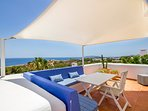 Main room private terrace with sea and Ibiza old city views