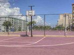 Basketball and tennis court.