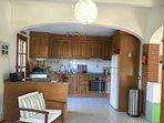 Large airy kitchen with new induction hob, Smeg fridge, new oven and washing machine