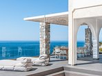 Amazing views on sea front villa Penelope in Stavros