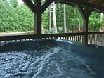 6-8 person hot tub overlooking Shaver's Fork River.