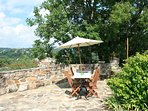 Upper terrace with view of the Aveyron and Viaur Rivers