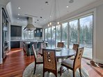 Dining table can be expanded up to ten with eight more at the island