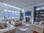 Luxury Great Room for ten with wood burning fireplace and 55' HD TV