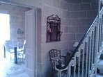 Wide stone stairs leading to the Mahogany Bedroom on the first floor.