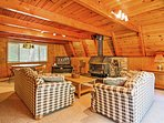 Unwind in front of the wood-burning fireplace.