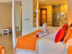 The Junior suite bedroom where you will be enjoying an unforgettable VIP sleep