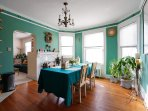 Six of you can have a lovely meal in this bright, comfortable dining room