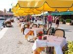 Waterfront restaurants in Villefranche.