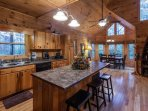 Kitchen and dining area overlooking the mountain tops