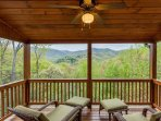 Private deck off the master bedroom overlooking the mountain tops