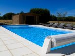 Heated 9M x 4M swimming pool with full width steps and a constant depth of 1.5M
