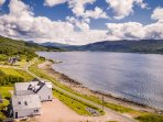 Rockpool House Ariel View - Over the house up the loch