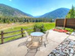 View of the Snake river from the Patio  - The patio offers seating area for four overlooking the mountains as well as...