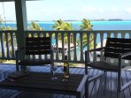 A drink on the large balcony with 180° lagoonview