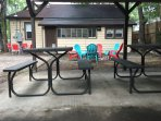 A variety of seating options in the back yard