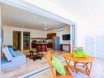 Floor to ceiling pocket doors for indoor/outdoor living