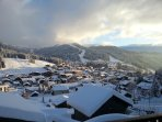Sunny south facing chalet with views directly to the piste and 5 mins walk from town