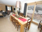 Large dining area, doors to huge terrace and stunning piste views