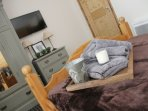 Separate TV in the first floor ensuite queen size bedroom