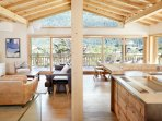 Marmotte Mountain Eco Lodge - open plan lounge/dining/kitchen