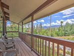 Relish the stunning mountain views from the covered porch.