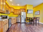 Full Kitchen / dinning area with 48' High definition tv. Keurig coffee maker with compliment coffee