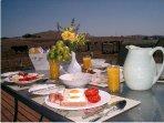Heatherington cottage breakfast on the deck