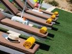 Cozy sun beds for sunbathing