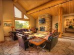 Living Room - 20 Foot Vaulted Ceilings, Fireplace, HDTV with Surround Sound