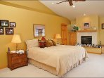 Master Bedroom with King, Gas Fireplace, Vaulted Ceilings