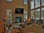 Living Room with 65 Inch HDTV, 25 Foot Vaulted Ceilings