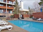 Heated Pool & Hot Tub Area with Restrooms &  Ski Slope Views